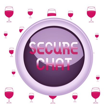 Text sign showing Secure Chat. Business photo showcasing approach to protect messages when sent beyond the corporate Circle button colored sphere switch center background middle round shaped Stock fotó