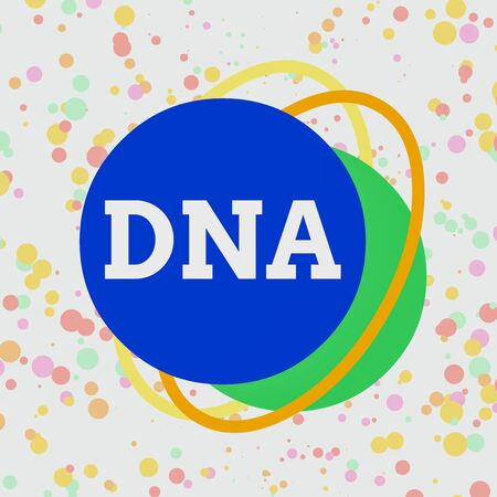 Word writing text Dna. Business photo showcasing a selfreplicating material wpresent in nearly all living organisms Asymmetrical uneven shaped format pattern object outline multicolour design Stockfoto