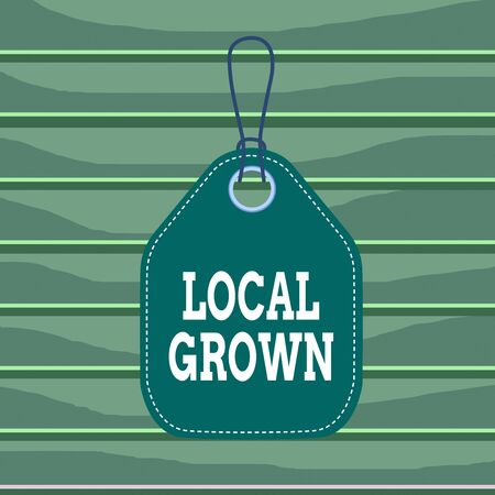 Conceptual hand writing showing Local Grown. Concept meaning agricultural products produced then sold within a certain area Empty tag colorful background label rectangle attach string