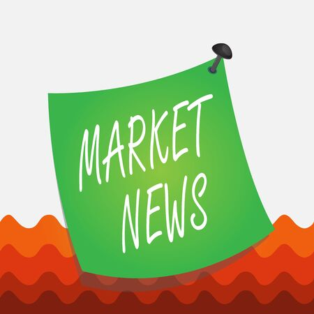 Conceptual hand writing showing Market News. Concept meaning Commercial Notice Trade Report Market Update Corporate Insight Curved reminder paper memo nailed colorful surface pin frame