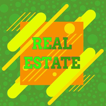 Handwriting text Real Estate. Conceptual photo the property consisting of land and the buildings on it Asymmetrical uneven shaped format pattern object outline multicolour design