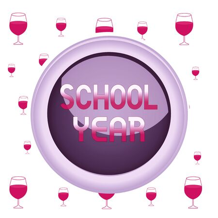 Text sign showing School Year. Business photo showcasing the annual period of sessions of an educational institution Circle button colored sphere switch center background middle round shaped