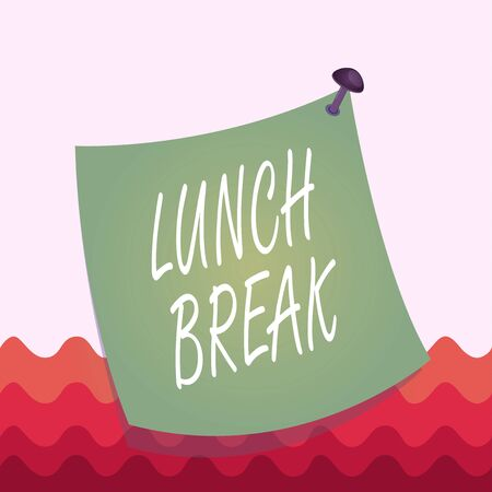 Conceptual hand writing showing Lunch Break. Concept meaning time when a demonstrating stops working or studying to have lunch Curved reminder paper memo nailed colorful surface pin frame