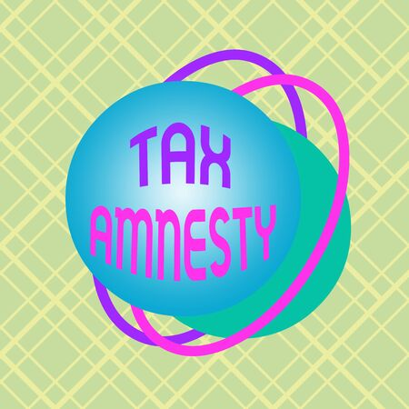 Writing note showing Tax Amnesty. Business concept for limitedtime opportunity for specified group of taxpayers to pay Asymmetrical format pattern object outline multicolor design