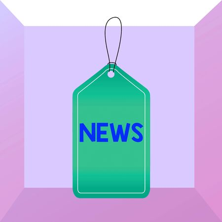 Conceptual hand writing showing News. Concept meaning a spoken or written account of something that one has observed Empty tag colorful background label rectangle attach string