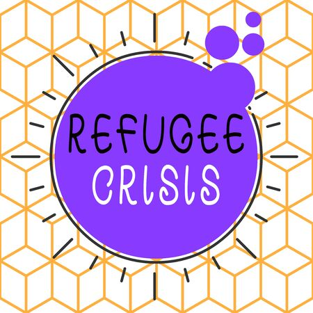 Conceptual hand writing showing Refugee Crisis. Concept meaning refer to movements of large groups of displaced showing Asymmetrical uneven shaped pattern object multicolour design Stockfoto