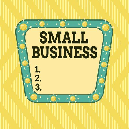 Writing note showing Small Business. Business concept for privately owned corporations that has less employees Asymmetrical uneven shaped pattern object multicolour design