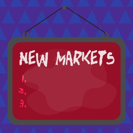 Conceptual hand writing showing New Markets. Concept meaning market where the end product or service is new or not exist yet Asymmetrical uneven shaped pattern object multicolour design 写真素材