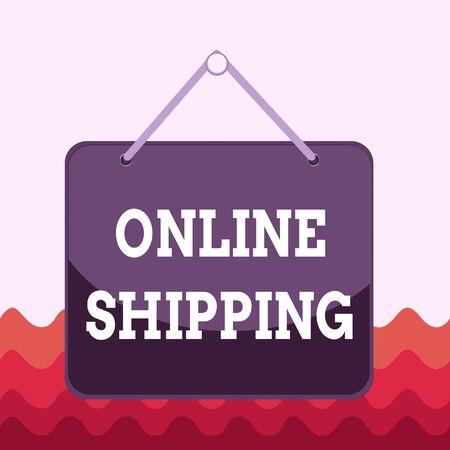 Conceptual hand writing showing Online Shipping. Concept meaning the act or analysisner of delivering something through the net Memo reminder empty board attached background rectangle Stock Photo