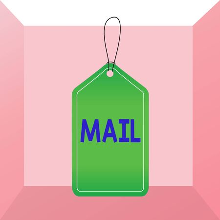 Conceptual hand writing showing Mail. Concept meaning letters or parcel sent or delivered by means of the postal system Empty tag colorful background label rectangle attach string