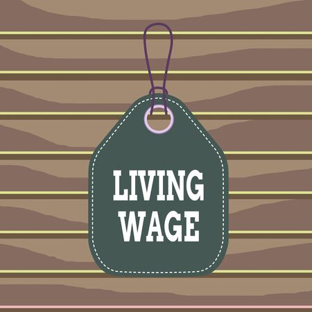 Conceptual hand writing showing Living Wage. Concept meaning wage that is high enough to maintain a normal standard of living Empty tag colorful background label rectangle attach string