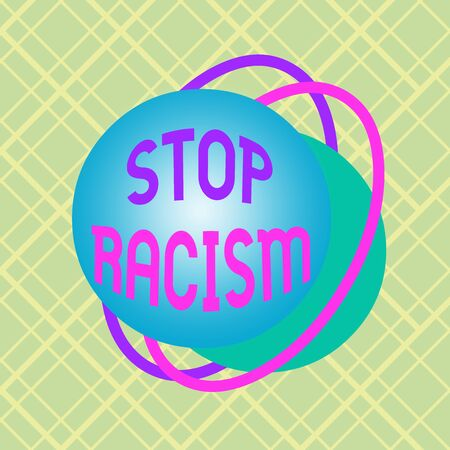 Writing note showing Stop Racism. Business concept for end the antagonism directed against someone of a different race Asymmetrical format pattern object outline multicolor design Фото со стока