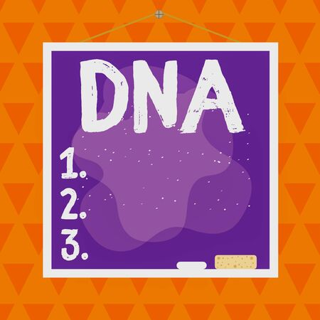 Text sign showing Dna. Business photo text a selfreplicating material wpresent in nearly all living organisms Asymmetrical uneven shaped format pattern object outline multicolour design