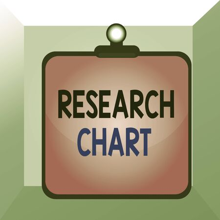 Conceptual hand writing showing Research Chart. Concept meaning it represents a set of numerical or qualitative data Clipboard colorful background clip stuck bind plank frame