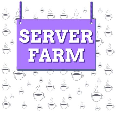 Writing note showing Server Farm. Business concept for a group of computers acting as servers and housed together Wooden board wood empty frame fixed colorful striped string