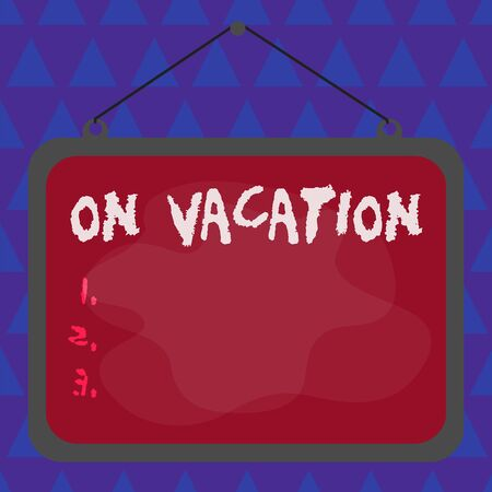 Conceptual hand writing showing On Vacation. Concept meaning period spent away from home or business in travel or recreation Asymmetrical uneven shaped pattern object multicolour design