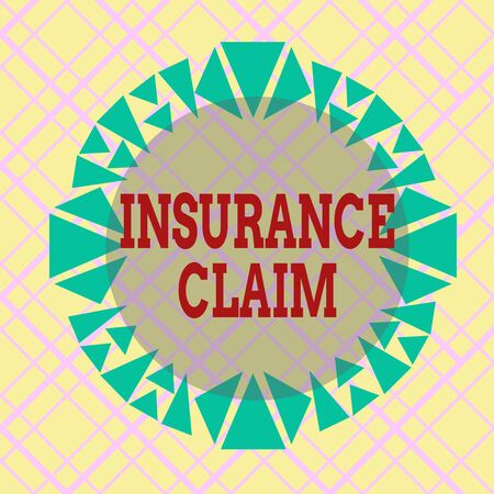 Writing note showing Insurance Claim. Business concept for coverage or compensation for a covered loss or policy event Asymmetrical uneven shaped pattern object multicolour design Reklamní fotografie