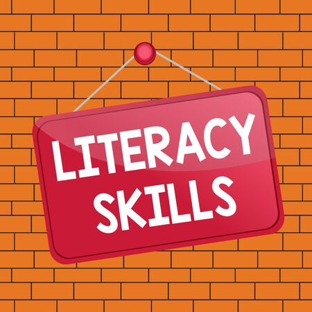 Text sign showing Literacy Skills. Business photo text all knowledge and skills need to evaluate information Colored memo reminder empty board blank space attach background rectangle