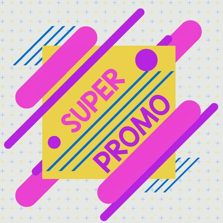 Text sign showing Super Promo. Business photo text piece of publicity or advertising in the form of a short film Asymmetrical uneven shaped format pattern object outline multicolour design