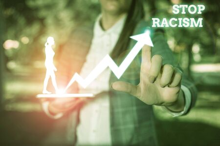Text sign showing Stop Racism. Business photo showcasing end the antagonism directed against someone of a different race