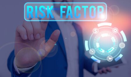 Conceptual hand writing showing Risk Factor. Concept meaning a condition behavior or other factor that increases danger Stok Fotoğraf