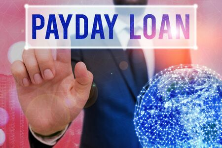 Writing note showing Payday Loan. Business concept for Something lent or furnished on condition being returned
