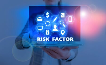 Word writing text Risk Factor. Business photo showcasing a condition behavior or other factor that increases danger Stok Fotoğraf