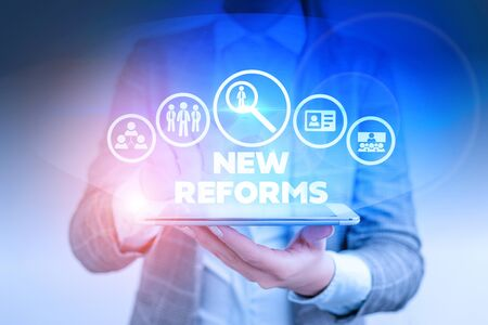 Word writing text New Reforms. Business photo showcasing to amend or improve by change of form or removal of faults