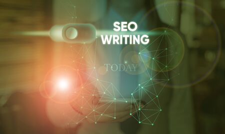 Handwriting text Seo Writing. Conceptual photo grabbing the attention of the search engines using specific word Archivio Fotografico