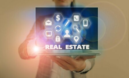 Word writing text Real Estate. Business photo showcasing the property consisting of land and the buildings on it