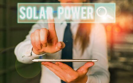 Text sign showing Solar Power. Business photo text the electricity produced by using the energy from the sun