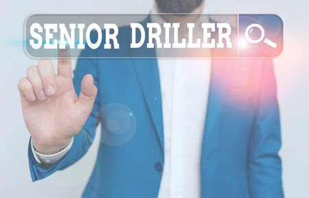 Text sign showing Senior Driller. Business photo showcasing supervise and formally assess onsite work activities 版權商用圖片