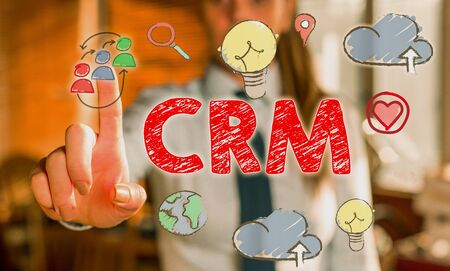 Writing note showing Crm. Business concept for Strategy for analysisaging the Affiliation Interactions of an organization