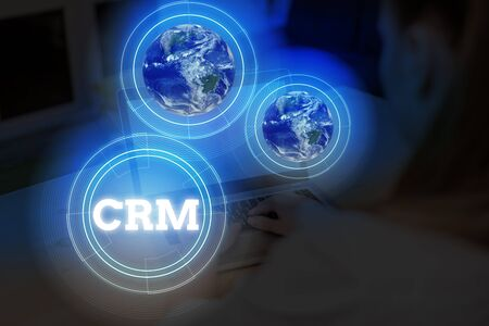 Word writing text Crm. Business photo showcasing Strategy for analysis aging the Affiliation Interactions of an organization