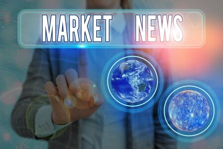 Text sign showing Market News. Business photo text Commercial Notice Trade Report Market Update Corporate Insight