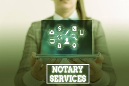 Conceptual hand writing showing Notary Services. Concept meaning services rendered by a state commissioned notary public Standard-Bild