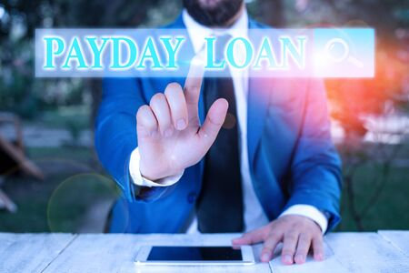 Handwriting text writing Payday Loan. Conceptual photo Something lent or furnished on condition being returned