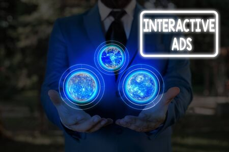 Handwriting text Interactive Ads. Conceptual photo uses interactive media to communicate with consumers