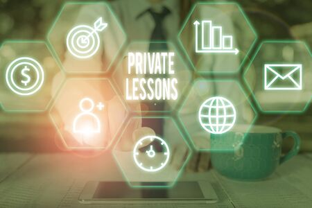 Writing note showing Private Lessons. Business concept for teaching which is usually paid privately by small groups