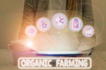 Text sign showing Organic Farming. Business photo showcasing agricultural system that use ecologically based pest control
