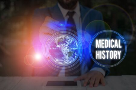 Writing note showing Medical History. Business concept for A record of information about a demonstrating s is health and medicare