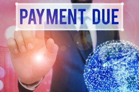 Writing note showing Payment Due. Business concept for The date when payment should be received by the company