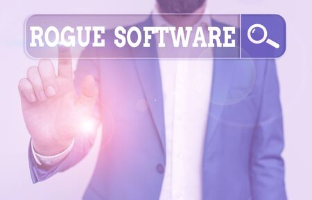 Text sign showing Rogue Software. Business photo showcasing type of malware that poses as antimalware software