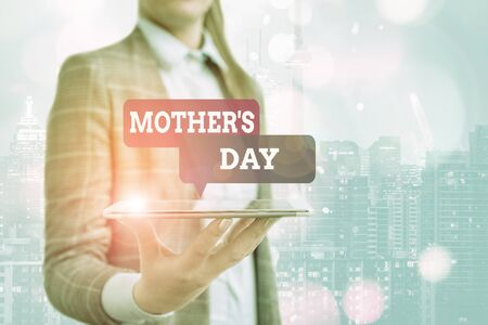 Conceptual hand writing showing Mother S Day. Concept meaning a celebration honoring the mother of the family or motherhood