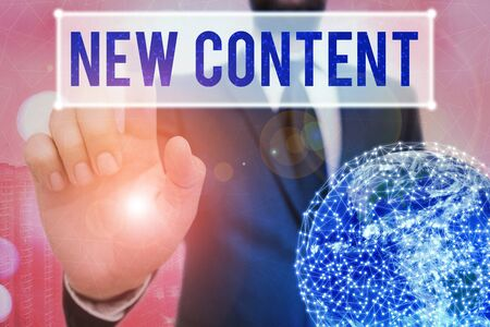 Writing note showing New Content. Business concept for fresh valuable and relevant information or context of a document