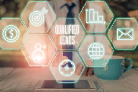Writing note showing Qualified Leads. Business concept for lead judged likely to become a customer compared to other