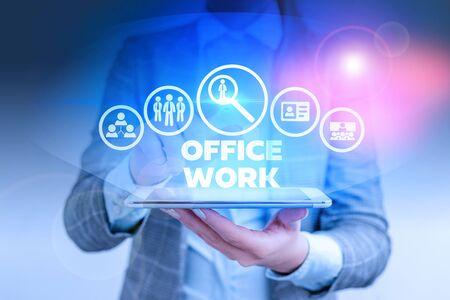 文字书写文字办公工作。商业照片展示组织的任何文书或行政工作