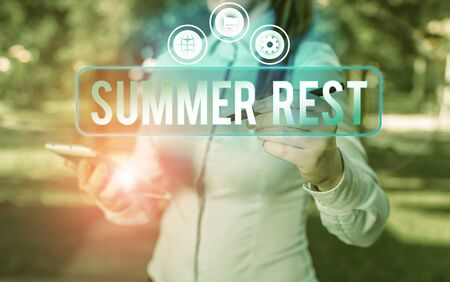 Text sign showing Summer Rest. Business photo showcasing taking holiday break or unwind from work or school during summer