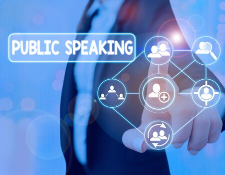 Text sign showing Public Speaking. Business photo text art of effective oral communication with an audience