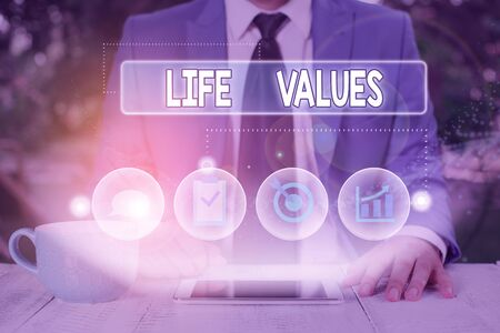 Text sign showing Life Values. Business photo showcasing things that you believe are important in the way you live